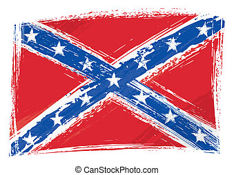 Grunge Confederate flag - Confederate rebel flag created in...
