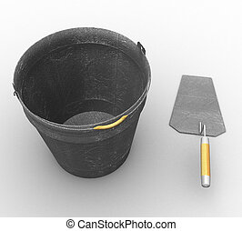 3d a bucket and a trowel on a white background isolated