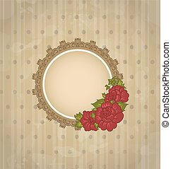 Vintage background with floral medallion and flowers