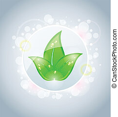 Ecology bubble with green leaves