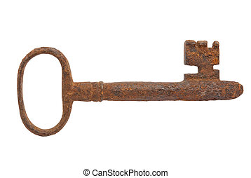 old key - vintage old key isolated on white background