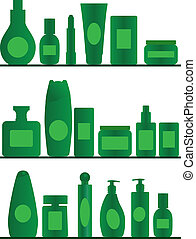 bathroom shelves - vector accessories silhouettes on white...