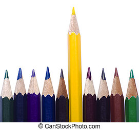 Close up of color pencils with different color over white...