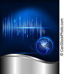 Abstract technology background with globe Vector...
