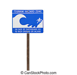 Tall Isolated Tsunami Sign on Wood Post