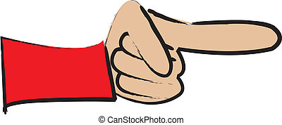 Pointing Finger - simple cartoon drawing of a pointing...