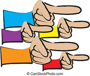 Group Of Pointing Fingers - simple cartoon drawing of a...