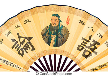 Chinese fan (Clipping path) - Confucius portrait on Chinese...