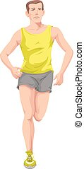 Man, Running, Color Illustration - Man with yellow shirt...