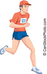 Man, Running, Color Illustration - Man with a red shirt,...
