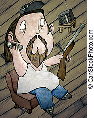 HillBilly, Color Illustration - HillBilly, on the Phone,...