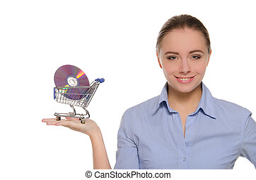 Woman with optical disks in shopping trolley