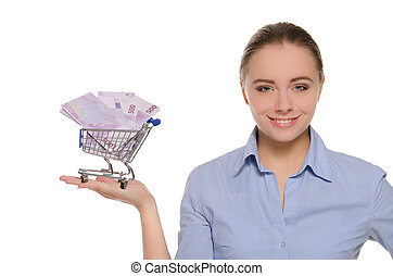 woman with euro banknotes shopping cart