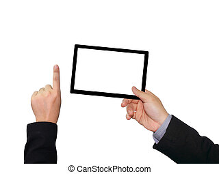 Businessman holding blank touch screen device