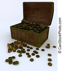 Treasure chest full of gold coins with map and key