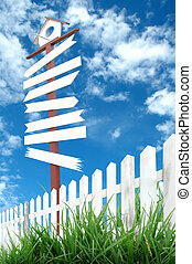 wooden signboard with blue sky