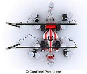 Race car pit stop - 3D Render of a Race car pit stop