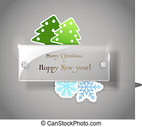Square glass board with christmas greetings. Place your text...