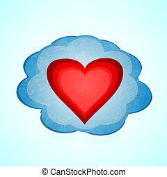 heart cloud vector background