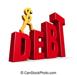 Rising Debt - A gold dollar sign climbing steps forming the...