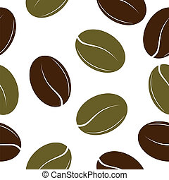 Black and green coffee beans. Seamless texture. vector