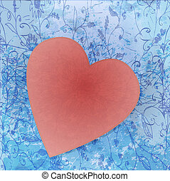 Painted brush heart shape. vector background.