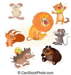 Set of seven funny animals - mouse, rabbit, bear, hedgehog,...