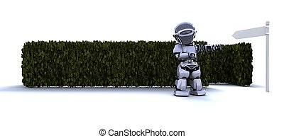 Robot at the start of a maze - 3D render of a Robot at the...