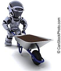 robot gardener with a wheel barrow carrying soil