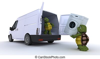 tortoises loading a washing machine into a van - 3D render...