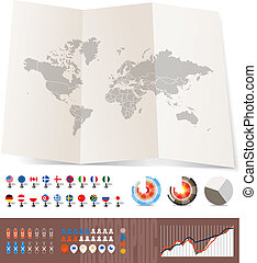 World map on old map and flags of different countries,...