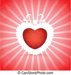 Red heart on red background with rays