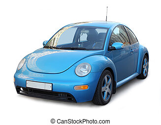 Small Blue Car - Small stylish purple custom car on white...