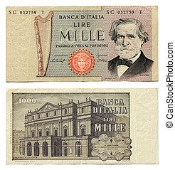 viejo, italiano, dinero