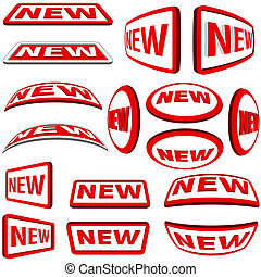 New Labels - red collection, illustration Vector