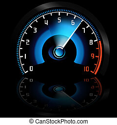 Speedometer and Reflection - Colored Illustration, Vector