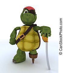 Tortoise dressed as a pirate - 3D render of a Tortoise...