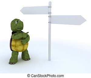 tortoise with sign post - 3D render of a tortoise with sign...