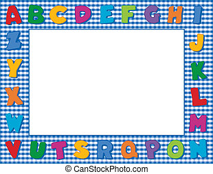 Gingham Alphabet Frame - Multicolor alphabet on blue gingham...