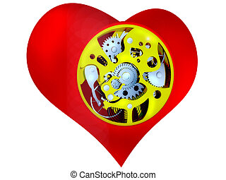 Heart with the mechanism inside - a symbol of cardiology 3d