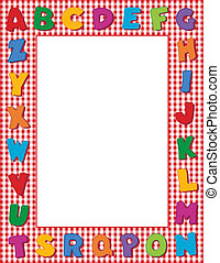 Gingham Alphabet Frame - Multicolor alphabet on red gingham...