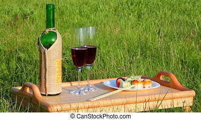 picnic - tabe with wine and japanese food