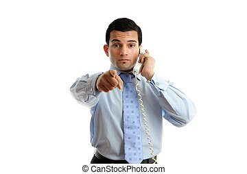 Professional businessman pointing - A professional...
