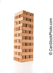 Complete jenga tower - Full jenga tower on white background