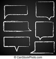 Sketch of speech bubbles chalked on black