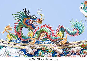 The Dragon status on roof of joss h