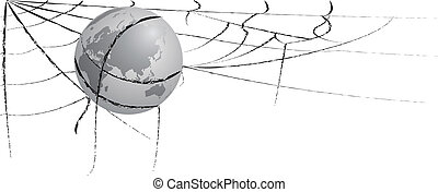 earth entangled in spiderweb - vector illustration of the...