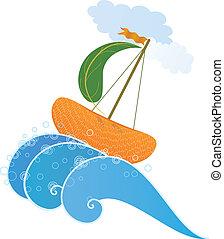 orange ship - vector illustration of the stylized orange...