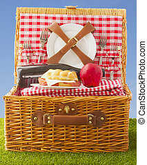 Picnic basket - Wooden basket for picnic with sandwich, wine...