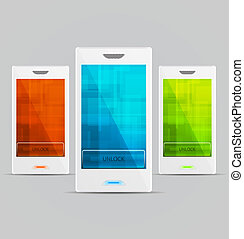 White Vector Cellphones set - Set of Wgite Vector Cellphones...